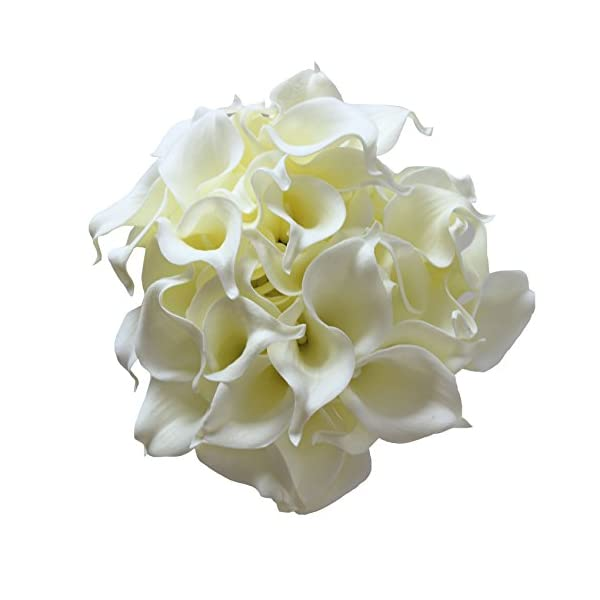 ALIERSA 50 Heads Mini Calla Lily Bridal Wedding Bouquet Real Touch Artificial Flower Bouquets (Ivory)