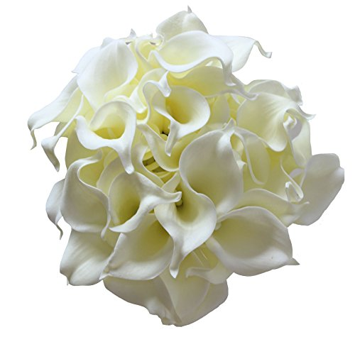 - En Ge 50 Heads Mini Calla Lily Bridal Wedding Bouquet Real Touch Artificial Flower Bouquets (Ivory)