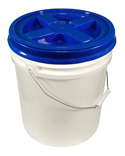 - 5 Gallon White Bucket & Gamma Seal Lid - Food Grade Plastic Pail & Gamma2 Screw Seal Tight Lid