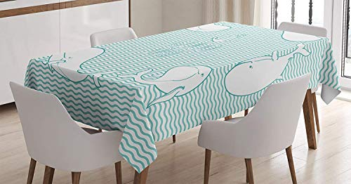 wanxinfu Anchor Decor Square Tablecloth Anchor and Good Day Text in Frame of Whales Different Poses Wavy Water Surface Table Cover for Kitchen Dinning Tabletop Decoration 60x60in