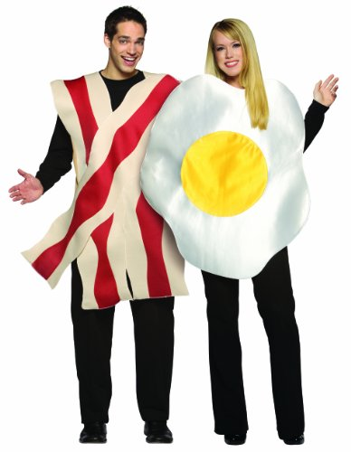 Rasta Imposta Bacon and Eggs Couples Costume, White/Brown, One (Egg And Bacon Costume)