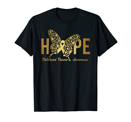 - Hope Childhood Cancer Awareness Shirts Gold Ribbon Butterfly