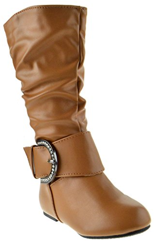 Bella 66 Little Girls Slouch Mid Calf Boots Tan 5 Brown Baby Calf Leather Shoes