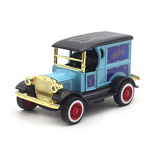LW Model T Vintage Cars Retro style 1:32 Scale Diecast car model collection light&sound (Navy Blue)