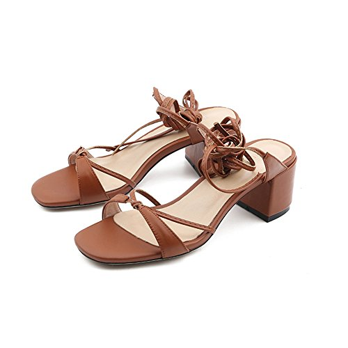 Slipper CAICOLOR Sandalias Simples de Las Mujeres del Verano Gruesas con el Cierre Abierto del Dedo del pie (3 Colores Opcionales) (Tamaño Opcional) (Color : Marrón, Tamaño : EU35/UK3/CN34) Marrón