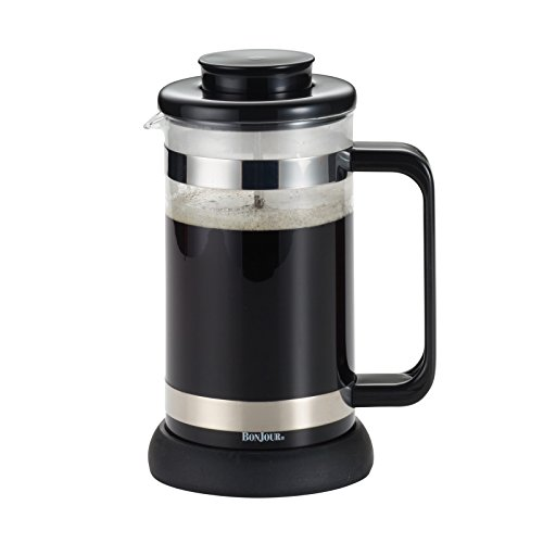 BonJour Coffee Borosilicate Glass French Press with Coaster & Scoop, 33.8-Ounce, Riviera, Black (Cup French Bonjour 3 Press)
