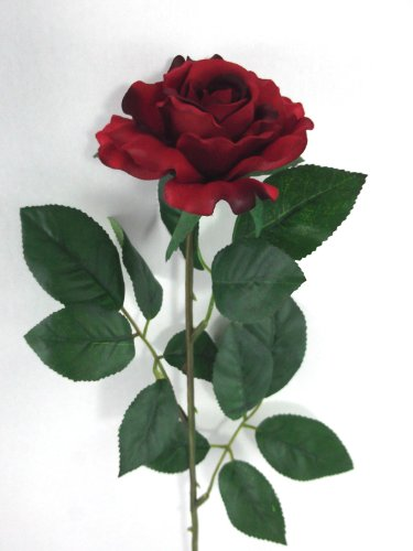 Artificial Silk Medium Rose Single Stem - 65cm, Red, Medium JustArtificial