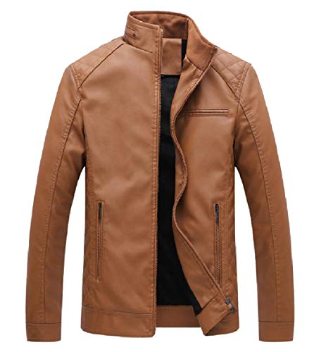 Leather Yellow up Men Thick Jacket PU Fleece Coats Moto Casual Zip Vintage security Faux w6TOXaSOq