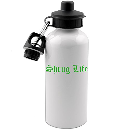 Funny Shrug Life IDK Thug Life Parody 20 OZ White Aluminum Water Bottle (LIME - Thug Parody Life