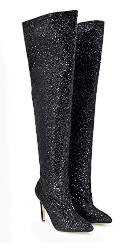 EXE Bota Alta Glitter Negra T2309D-K202