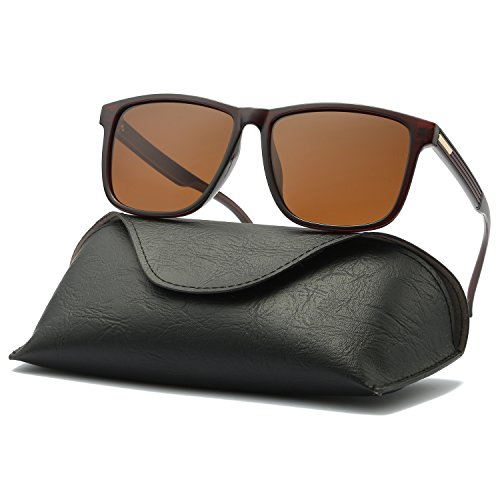 Ray Parker Mens Sunglasses Polarized Retro UV Protection Black Rimmed Sports Sun Glasses for men RP101 With Brown Frame/Brown - Parker Sunglasses