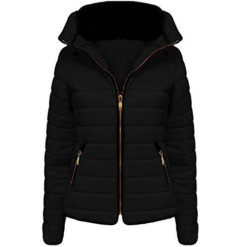 con de forrado chaqueta para negro capucha Vanilla cuello invierno con mujer cremallera acolchada Inc 6EnUz