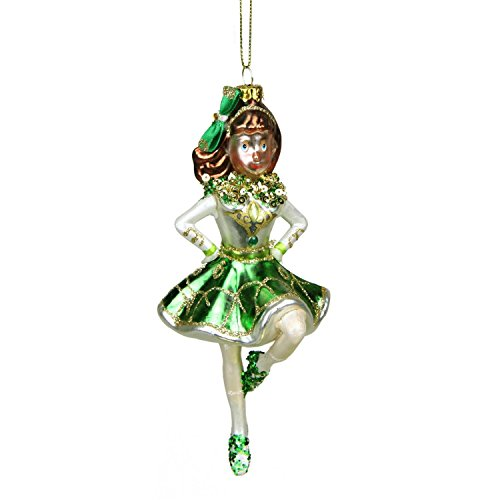 Northlight Luck of the Irish Celtic Dancer Girl Glittered St. Patrick's Day Glass Christmas Ornament, 6