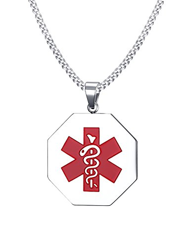 Free Engraving- Stainless Steel Octagon Medical Alert ID Tag Pendant Necklace with 24
