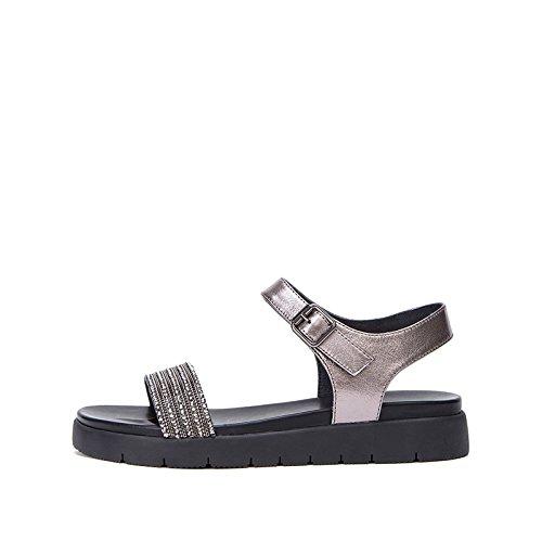 Sandali alla Grigio piatti basso tacco casual Sandali basso DHG Pantofole 36 estivi con donna da alti a moda tacco Sandali Tacchi fcvXq