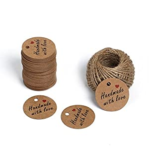 Handmade Gift Tags,Brown Christmas Gift Wrap Tags with String,Handmade with love Kraft Paper Tags,100 Pcs 4.3cm Round Craft Tags with 100 Feet Natural Jute Twine by KINGLAKE