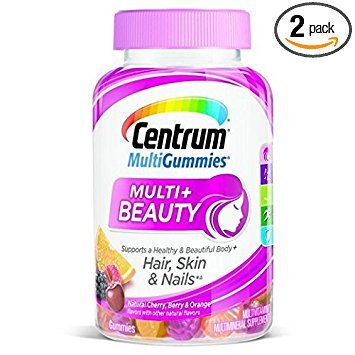 Centrum Multigummies Multi + Beauty Hair Skin Nails Multivitamin, Cherry, Berry, Orange, 90 Gummies (Pack of 2) Review