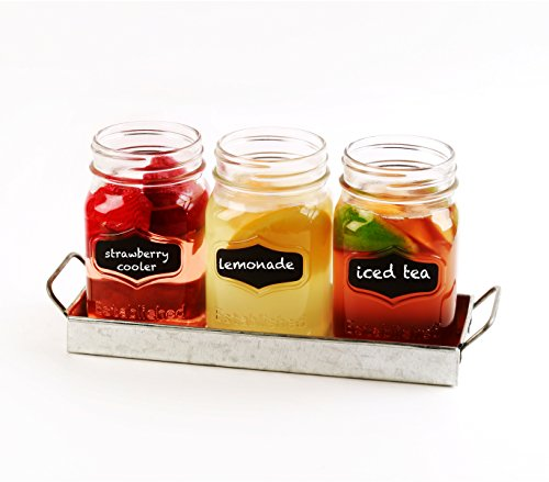 Circleware 69072 Yorkshire Chalkboard Mason Jar Glasses with Metal Holder Stand Set of 4, Home & Kitchen Farmhouse Décor Drink Tumblers for Water, Beer and Beverages, 17 oz, Galvanized by Circleware (Image #5)