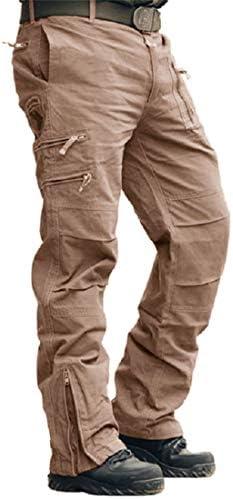 MAGCOMSEN Pantalon cargo en coton pour homme - Pantalon unicolore multi-poches, pour activités en plein air -  FR:38 kaki
