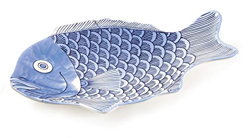 G.E.T. Enterprises Blue 10 Fish Shape Serving Platter, Break Resistant Dishwasher Safe Melamine Plastic, Creative Table Collection 370-10-BL (Pack of 12)