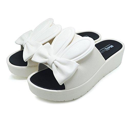 Women High Heels Fashion Breathable Sandals (White) - 5