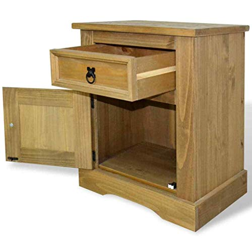 Mexican 'Corona' Style Design Bedside Cabinet Mexican Pine Corona Range Sofa Side End Table Bedside Table Nightstand Bedroom w/Drawers Accent Wood Furniture Any Room Home Decor