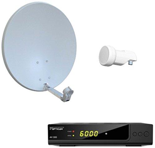 Opticum Digitale 1 Teilnehmer Satelliten-Komplettanlage HD AX 300 HDTV-Receiver (Single-LNB, X60 cm Antenne) lichtgrau