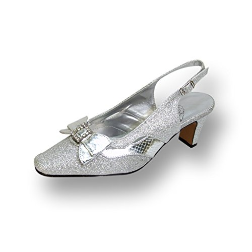 Floral FIC Pearl Women Wide Width Slingback Dress Pump for Wedding, Prom, Dinner (Size/Measurement Guide) Silver