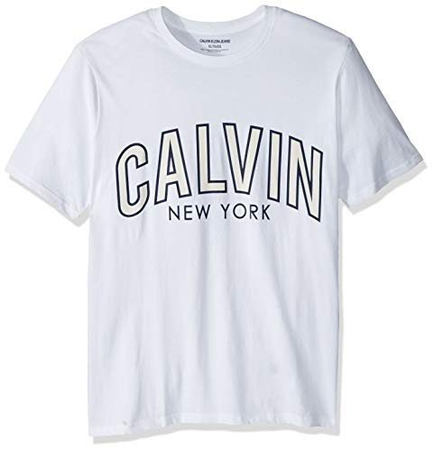 - Calvin Klein Men's Tall Short Sleeve Crew Neck T-Shirt Calvin Arch Graphic, Brilliant White Outline, 3X-Large Big