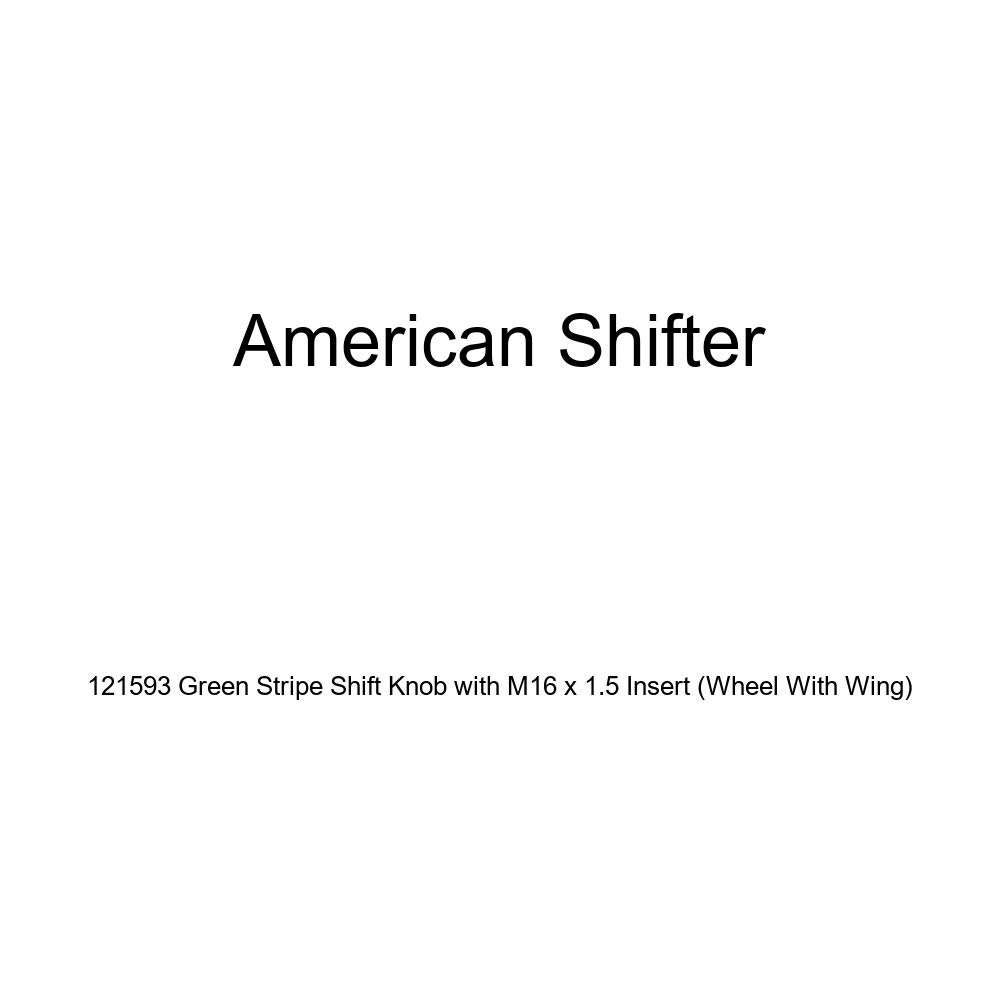 American Shifter 121593 Green Stripe Shift Knob with M16 x 1.5 Insert Wheel with Wing