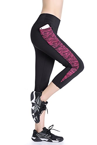 EAST HONG Women's Yoga Leggings Exercise Workout Pants Gym Tights (L.Black/Rose.(Capris)) Lycra Workout Pants