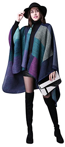 ilishop Women's Winter Reversible Oversized Blanket Poncho Cape Shawl Cardigans Purple Free ()