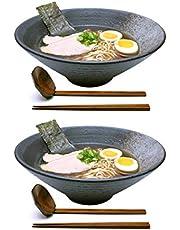 2 Sets 1700 milliliters Large Ceramic Japanese Ramen Noodle Soup Bowl Dishware Ramen Bowl Set with Matching Spoon and Chopsticks for Udon Soba Pho Asian Noodles