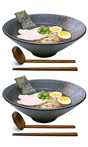 (2 sets (6 piece) 57 oz Large Ceramic Japanese Ramen Noodle Soup Bowl Dishware Set with Matching Spoon and Chopsticks for Udon Soba Pho Asian Noodles)