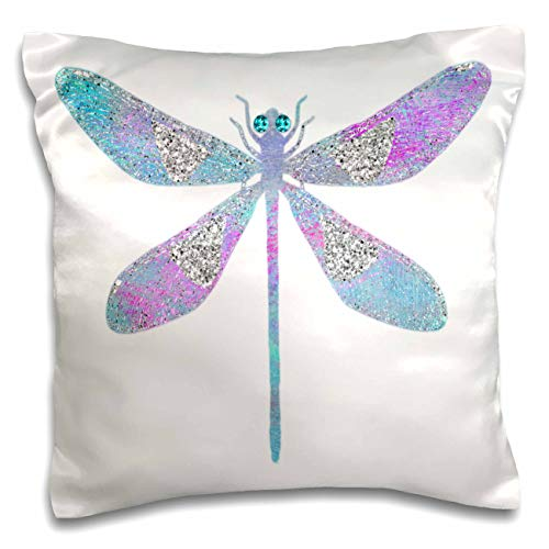 (3dRose Anne Marie Baugh - Design - Pink, Blue, and Image Of Silver Glitter Dragonfly Illustration - 16x16 inch Pillow Case (pc_316297_1))