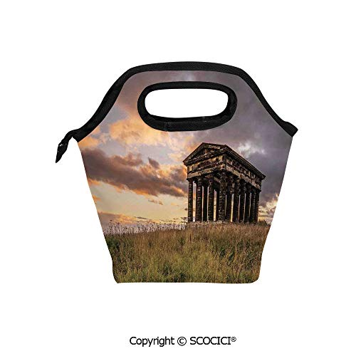 - Printed Pattern Portable Lunch Tote Bag Ancient Greek Monument at Sunset Sky Landscape with Dark Scenery Europian Heritage Rurals insulation cold outdoor picnic lunch box bag.