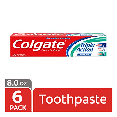 Colgate Triple Action Toothpaste, Mint - 8 ounce (Pack of 6)