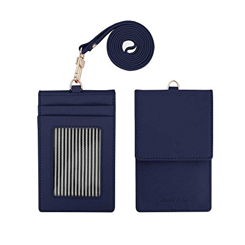 Genuine Leather Credit Card Holder Wallet with Mirror ID Badge Case with Neck Strap Navy (Navy Blue Lanyard)