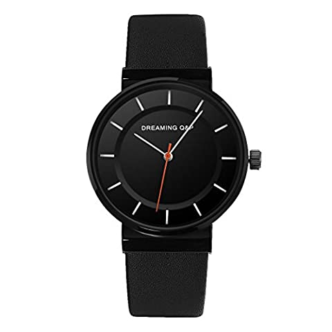 Black Women's Men's Unisex Leather Watch,Simple Casual Analog Dress Wrist Watches for Men Women - Unisex Black Leather