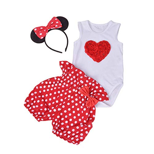 - Amberetech Infant Baby Girl Mini Mouse Shorts Suits Romper Outfit 3Pcs Clothing Set (Heart-Red, for 12-24 Months)