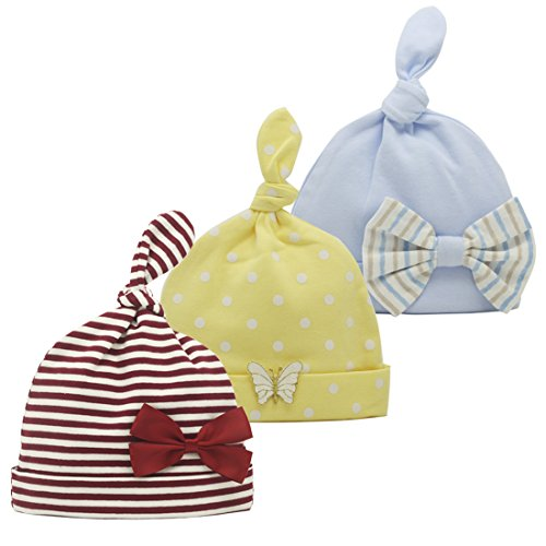 - Nihao Baby Hospital Hat with Bow Infant Toddler Girl Top Knot Beanie Hat Cap 3 Pack (Red-Stripe, 6-12 Months)
