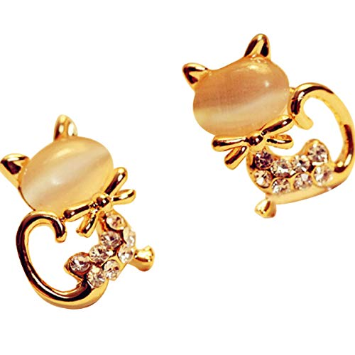 (Earrings, Fashion Korean Style Cute Cat Kitty Crystal Rhinestone Stud Earrings Birthday Gift for Women Girls)