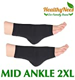 HealthyNees Extra Wide Ankle Big Feet 20-30 mmHg Compression Swelling Foot Pain Circulation Plus Size Sock Open Toe Sleeve (Black, Mid Ankle 2XL)