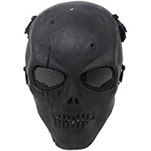 Thiroom Skull Skeleton Full Face Tactical Airsoft Paintball Cosplay Mask with Metal Mesh Eye Protection M01 M06 For Airsoft/BB Gun/ CS Game and Party