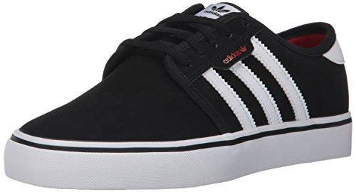 adidas Unisex-Kids Seeley J Skate Shoe, Core Black, Ftwr White, Scarlet, 4 M US Big Kid - Big Skate Shoes