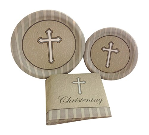 Christening Silver Gold Cross Party Bundle with Paper Plates and Napkins for 8 Guests