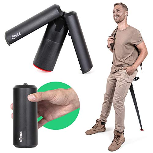 Sitpack 2.0 - The World's Most Compact Foldable Seat - Portable and Adjustable Sit/Stand Stool for Travel and Outdoor Activities