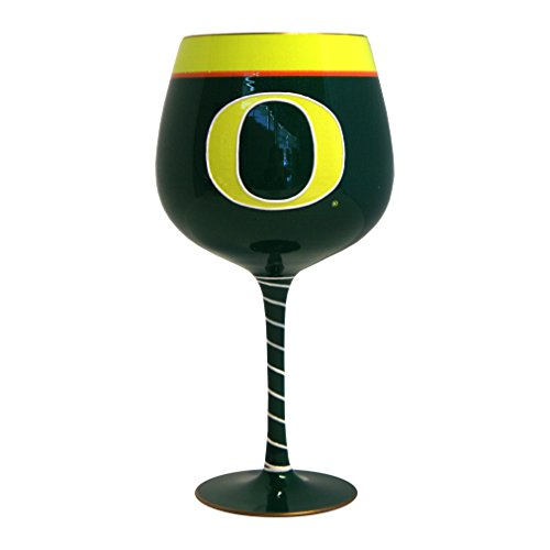 NCAA Oregon Ducks Artisan Wine Glass, 33-ounce - Oregon Art Glass