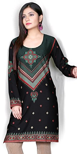 Indian Tunic Top Womens Kurti Printed Blouse India Clothing – Small, L 101