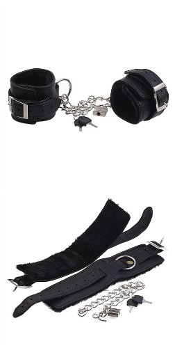 Bondage Restraint with Faux Fur Unisex Leather Cuff include Lock & Chain J1675 by Sex Toys > Bondage Kit